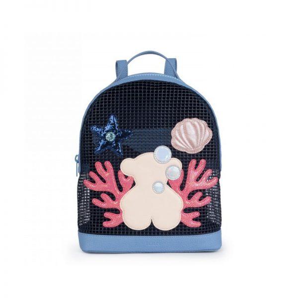 mochila tous belmart sea en color azul carteras y bolsos